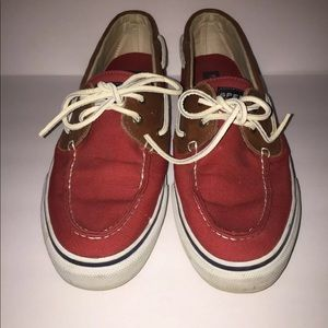 Sperry Top Sider Red Canvas Men's Loafers Sz 10.5